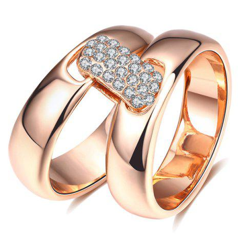 Best Rhinestoned Double Circle Statement Ring - 6 ROSE GOLD Mobile