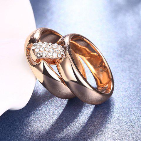 Shop Rhinestoned Double Circle Statement Ring - 6 ROSE GOLD Mobile