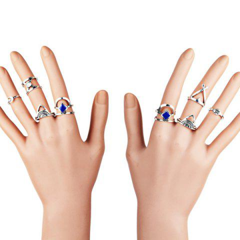 Store Moon Geometric Finger Gypsy Ring Set