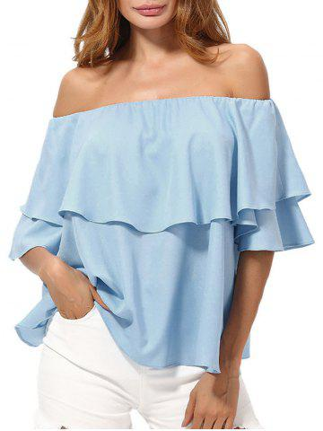 Discount Overlay Chiffon Off The Shoulder Top AZURE XL