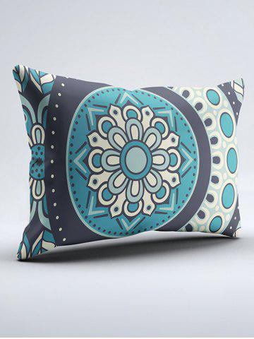 Fancy Bohemia Style Floral Print Double Pillow Case - W20 INCH * L26 INCH TURQUOISE BLUE Mobile