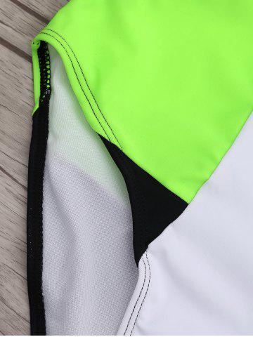 Fashion High Neck Color Block One Piece Swimwear - M BLACK AND GREEN Mobile