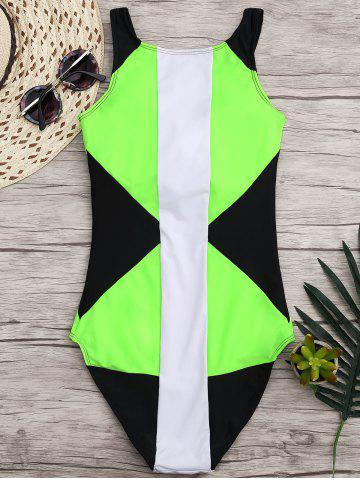 Discount High Neck Color Block One Piece Swimwear - M BLACK AND GREEN Mobile