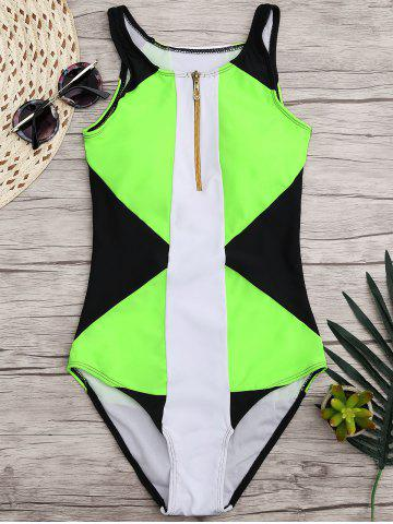Online High Neck Color Block One Piece Swimwear BLACK/GREEN M