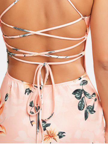 Chic Lace-Up Bodycon Floral Midi Slip Dress - M PINK Mobile