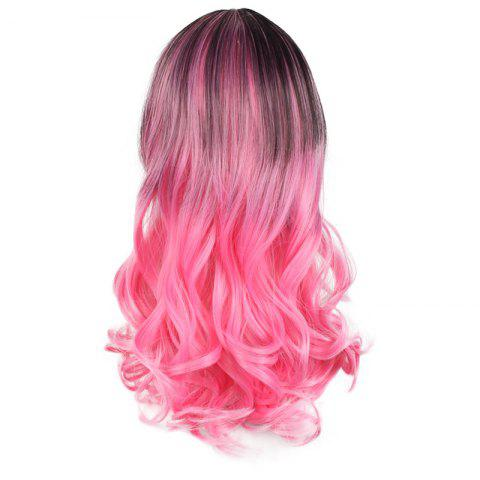 Online Center Parting Long Wavy Ombre Colormix Lolita Synthetic Wig - BLACK AND RED  Mobile