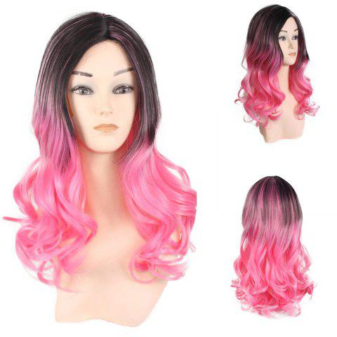 Best Center Parting Long Wavy Ombre Colormix Lolita Synthetic Wig BLACK/RED