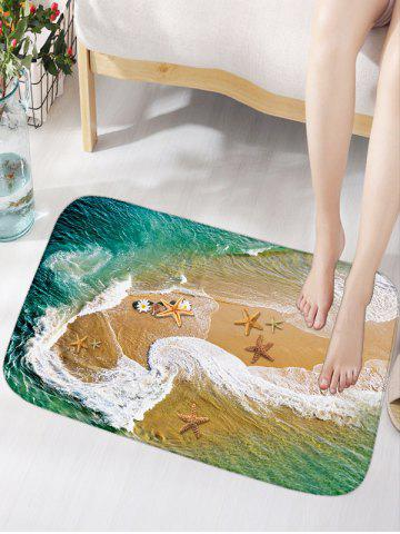 Sea Beach Print Flannel Antislip Bathroom Rug - Deep Green - W16 Inch * L24 Inch