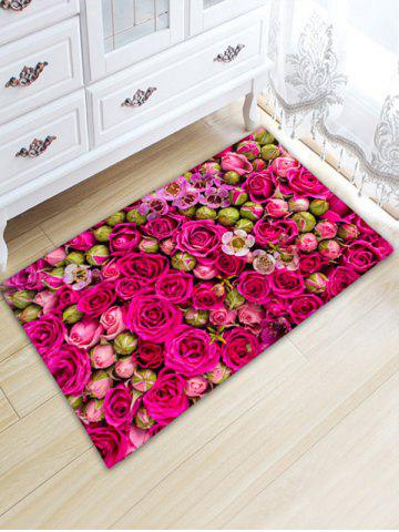 Wedding Rose Print Flannel Water Absorption Bathroom Rug - Rose Red - W20 Inch * L31.5 Inch