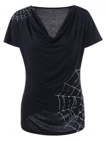 Outfits Cowl Neck Spiderwebs Graphic  T-shirt - L BLACK Mobile