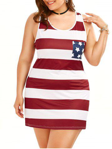 Buy Plus Size American Flag Sleeveless Tank Dress COLORMIX 5XL