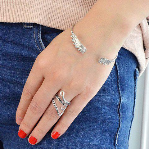 Fashion Alloy Octopus Tentacles Ring - ONE-SIZE SILVER Mobile