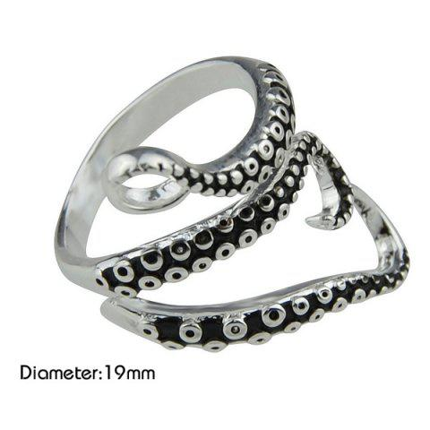 Sale Alloy Octopus Tentacles Ring - ONE-SIZE SILVER Mobile