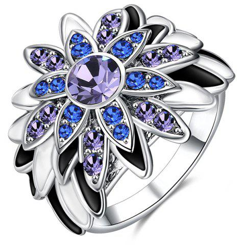 Outfit Flower Design Artificial Diamond Embellished Ring - SILVER  Mobile