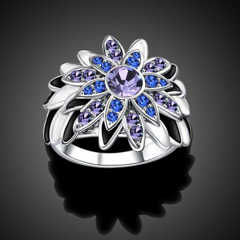 New Flower Design Artificial Diamond Embellished Ring - SILVER  Mobile