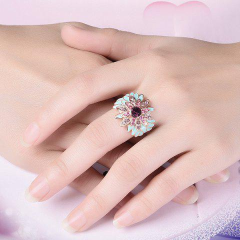 Flower Design Artificial Diamond Embellished Ring - Rose Gold