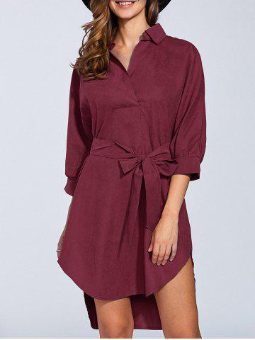 Unique Bowknot 3/4 Sleeve Shirt Dress WINE RED XL
