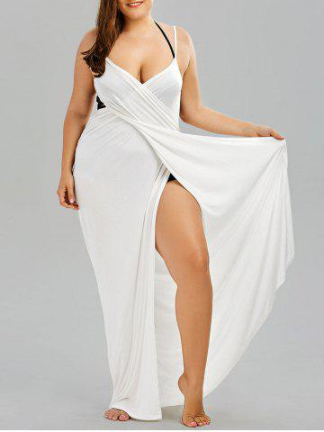Latest Plus Size Flowy Cover Up Wrap Dress WHITE 3XL