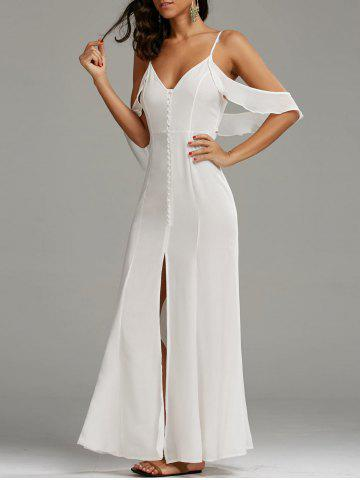 Store Cold Shoulder Long Backless Slit Prom Dress WHITE M