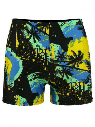 Store Tropical Plant Print Stretch Swimming Trunks COLORMIX 3XL