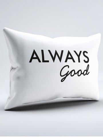 Sale Brushed Fabirc Letters Printed Double Pillow Shams - W20 INCH * L30 INCH WHITE AND BLACK Mobile