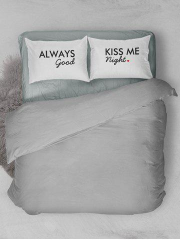 Shop Brushed Fabirc Letters Printed Double Pillow Shams - W20 INCH * L30 INCH WHITE AND BLACK Mobile