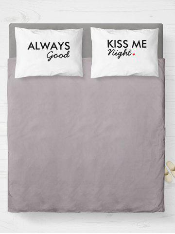 Shops Brushed Fabirc Letters Printed Double Pillow Shams - W20 INCH * L30 INCH WHITE AND BLACK Mobile