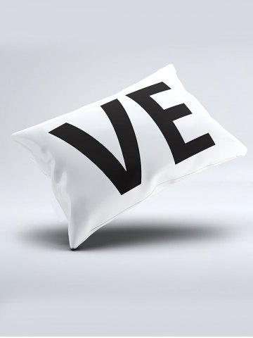 Sale 2Pcs Letter Love Bedroom Pillowcase Cover - W20 INCH * L26 INCH WHITE AND BLACK Mobile