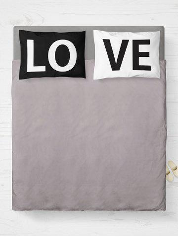 Discount 2Pcs Letter Love Bedroom Pillowcase Cover - W20 INCH * L26 INCH WHITE AND BLACK Mobile