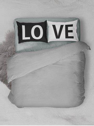 Unique 2Pcs Letter Love Bedroom Pillowcase Cover - W20 INCH * L30 INCH WHITE AND BLACK Mobile