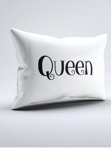 Online Double King Queen Print Bed Throw Pillowcase - W20 INCH * L30 INCH WHITE Mobile
