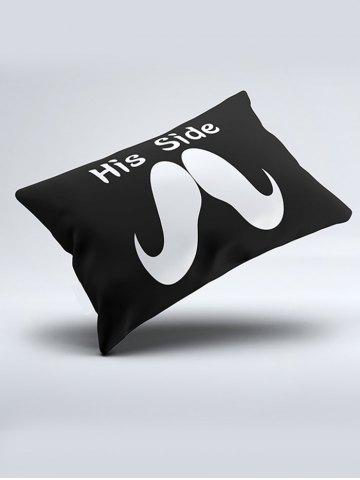 Unique His Her Side Print 2Pcs Soft Bedding Pillow Case - W20 INCH * L26 INCH BLACK AND WHITE AND RED Mobile