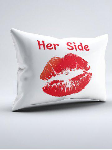 Buy His Her Side Print 2Pcs Soft Bedding Pillow Case - W20 INCH * L30 INCH BLACK AND WHITE AND RED Mobile