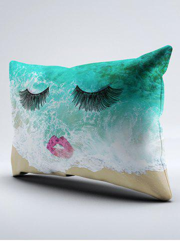 New Brushed Fabirc Face Beach Printing Double Pillow Case - W20 INCH * L30 INCH GREEN Mobile