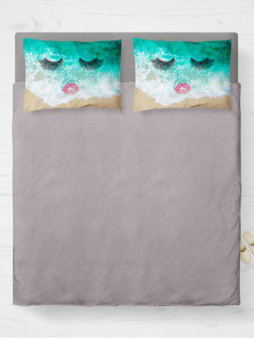 Cheap Brushed Fabirc Face Beach Printing Double Pillow Case - W20 INCH * L30 INCH GREEN Mobile