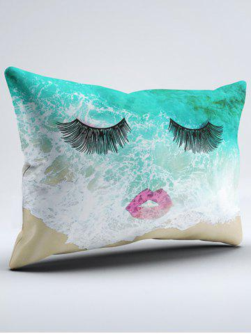 Outfit Brushed Fabirc Face Beach Printing Double Pillow Case - W20 INCH * L30 INCH GREEN Mobile