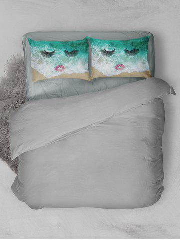 Buy Brushed Fabirc Face Beach Printing Double Pillow Case - W20 INCH * L30 INCH GREEN Mobile