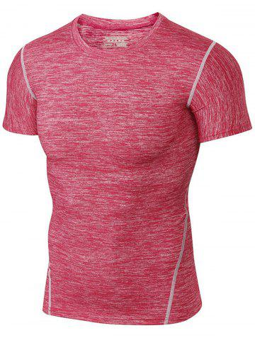 Sale Space Dye Short Sleeve Activewear - RED 2XL Mobile