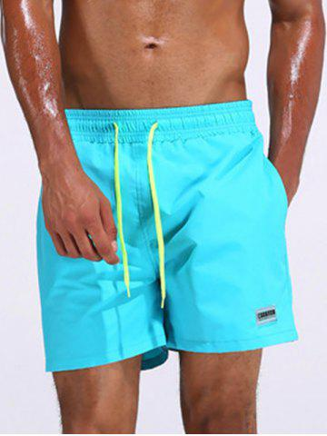 Color Drawstring Loose Fitting Board Shorts - Azure - L
