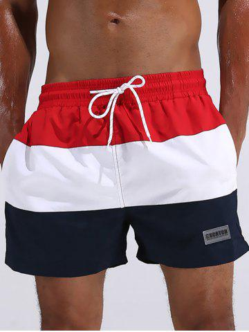 Patch Design Color Block Board Shorts Rouge L