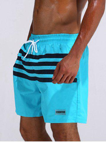 Chic Loose Fitting Stripe Board Shorts - L AZURE Mobile