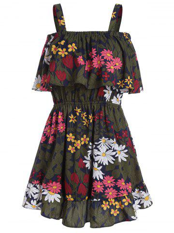 Discount Floral Print Flounce Mini Dress COLORMIX ONE SIZE