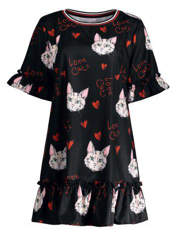 Plus Size Long Ruffle Kitten Printed Bell Sleeve Top - Black - 5xl