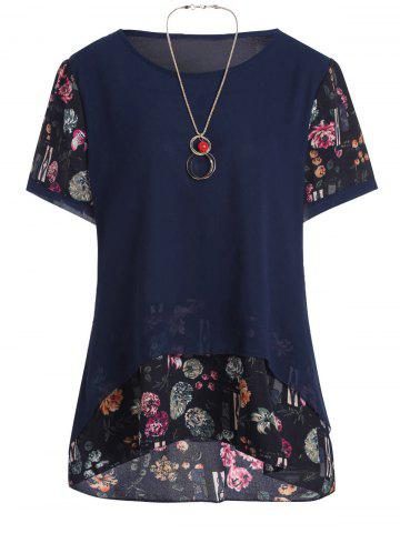 Plus Size Chiffon Floral Ruffle Top with Chain - Deep Blue - 3xl
