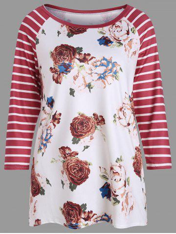Affordable Floral Print Stripe Casual Baseball T-shirt WHITE XL