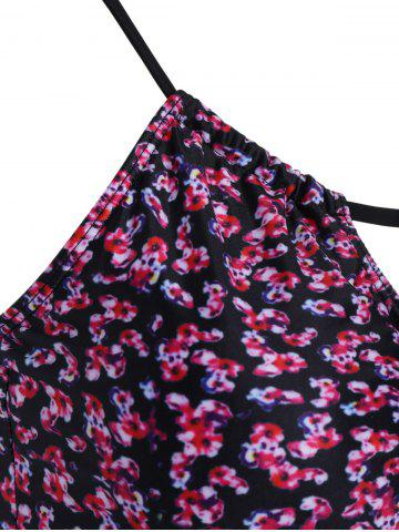 Trendy Floral Swim Top with Panties Tankini Set - L FLORAL Mobile