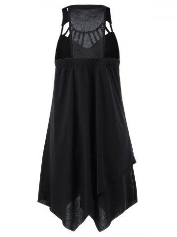 Sale Cut Out Overlap Sleeveless Handkerchief Dress - 2XL BLACK Mobile