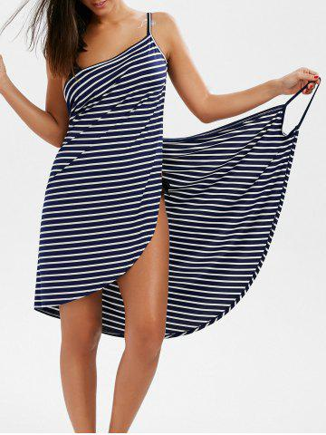New Pinstripe Open Back Cover-ups Dress STRIPE L