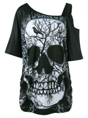 Fashion Plus Size Skull Skew Collar Long T-shirt