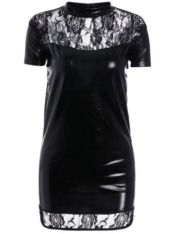 High Neck Bodycon Faux Leather Dress - Black - One Size